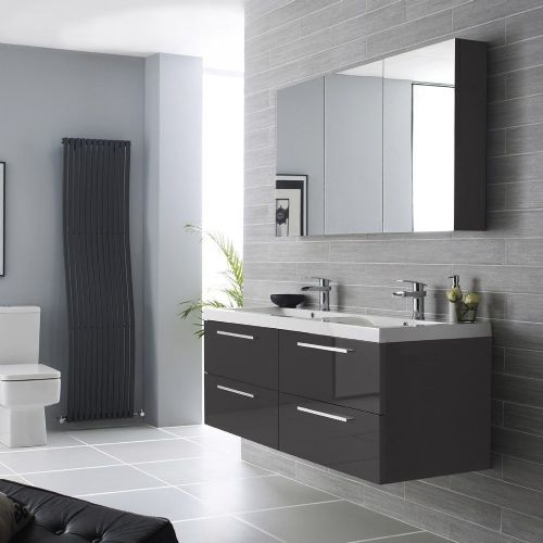 Hudson Reed Quartet Grey Gloss 1440mm Wall Hung Unit & Basin